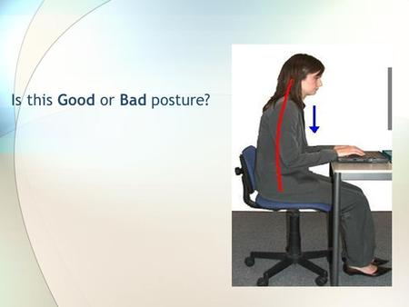 Is this Good or Bad posture?. Office Ergonomics Creating efficient and comfortable working conditions Eva Mikruit, Crystal Glahn and Nick Rutigliano Touro.