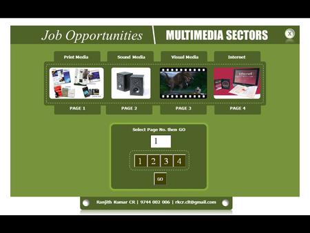 Job Opportunities MULTIMEDIA SECTORS Print MediaSound MediaVisual MediaInternet Select Page No. then GO PAGE 1PAGE 2PAGE 3PAGE 4.