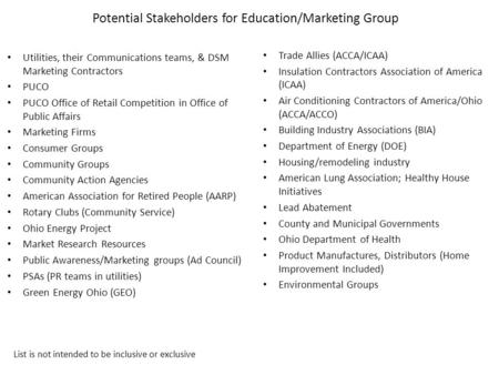 Potential Stakeholders for Education/Marketing Group Utilities, their Communications teams, & DSM Marketing Contractors PUCO PUCO Office of Retail Competition.