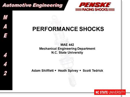 MAE 442 Mechanical Engineering Department N.C. State University PERFORMANCE SHOCKS Adam Shifflett  Heath Spivey  Scott Tedrick.
