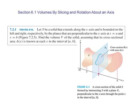 Section 6.1 Volumes By Slicing and Rotation About an Axis