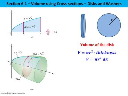 Section 6.1 – Volume using Cross-sections – Disks and Washers Copyright  2010 Pearson Education, Inc. Volume of the disk r.