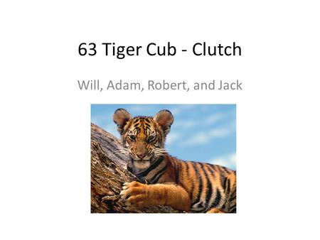 63 Tiger Cub - Clutch Will, Adam, Robert, and Jack.