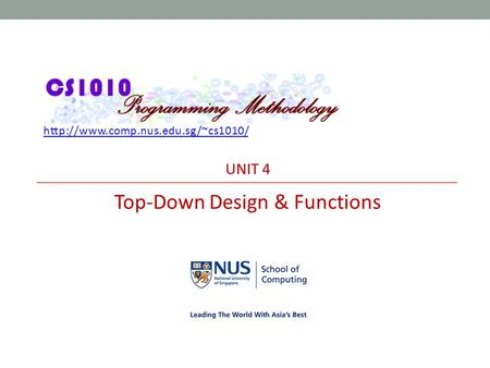 UNIT 4 Top-Down Design & Functions.
