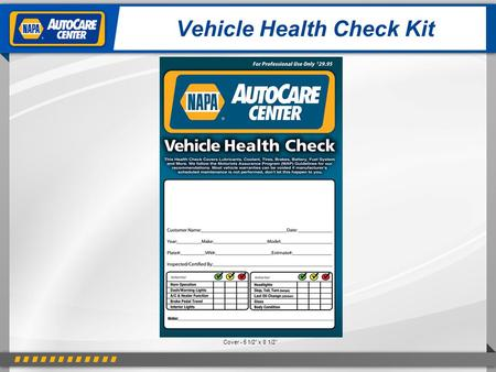 "Vehicle Health Check Kit Cover - 5 1/2"" x 8 1/2""."