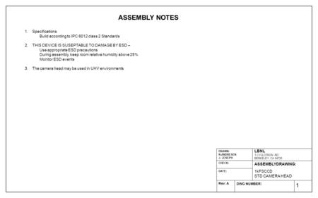 1 ASSEMBLY NOTES 1.Specifications Build according to IPC 6012 class 2 Standards 2.THIS DEVICE IS SUSEPTABLE TO DAMAGE BY ESD – Use appropriate ESD precautions.