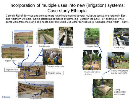 Incorporation of multiple uses into new (irrigation) systems: Case study Ethiopia Catholic Relief Services and their partners have implemented several.