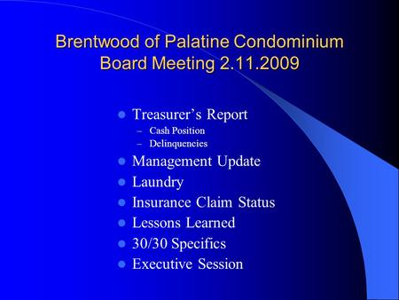Brentwood of Palatine Condominium Board Meeting 2.11.2009 Treasurer's Report – Cash Position – Delinquencies Management Update Laundry Insurance Claim.