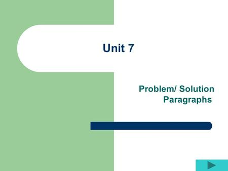 Unit 7 Problem/ Solution Paragraphs. Paragraph Structure Begin with your topic sentence. Your topic sentence should simply state the problem. Description.