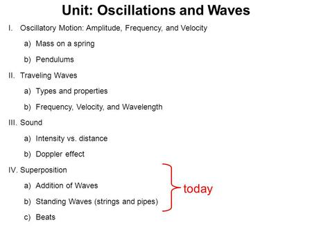 Unit: Oscillations and Waves I.Oscillatory Motion: Amplitude, Frequency, and Velocity a)Mass on a spring b)Pendulums II.Traveling Waves a)Types and properties.