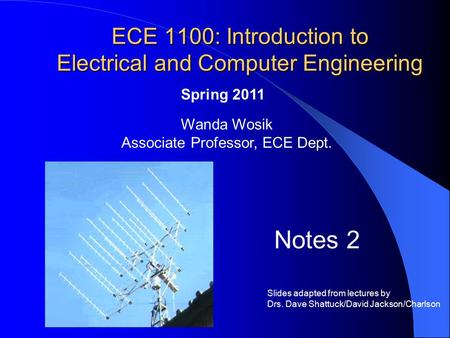 ECE 1100: Introduction to Electrical and Computer Engineering Wanda Wosik Associate Professor, ECE Dept. Spring 2011 Notes 2 Slides adapted from lectures.