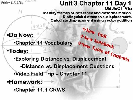 Friday 11/14/14 Unit 3 Chapter 11 Day 1 OBJECTIVE: 	Identify frames of reference and describe motion. Distinguish distance vs. displacement. Calculate.