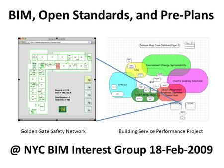 BIM, Open Standards, and Pre-Plans Golden Gate Safety Network Building Service Performance NYC BIM Interest Group 18-Feb-2009.