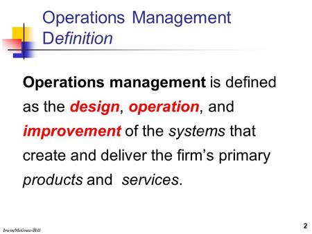 Definitions of operation management