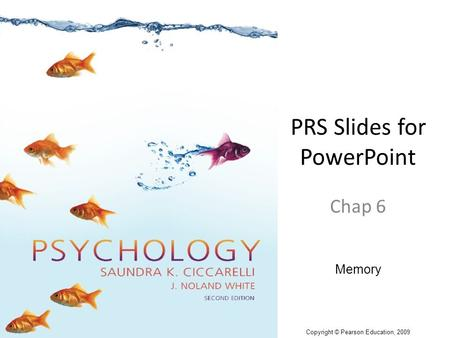 PRS Slides for PowerPoint Chap 6 Memory Copyright © Pearson Education, 2009.
