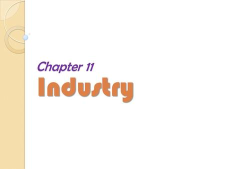 Chapter 11 Industry.