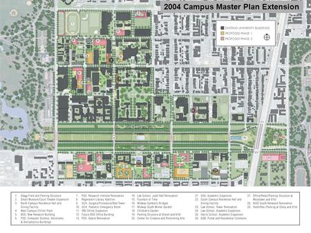 2004 Campus Master Plan Extension. West Campus Phase 1 2008 Ellis Avenue Maryland Avenue 55 th 56 th 57 th 58 th 59 th Cottage Grove Drexel Avenue Proposed.