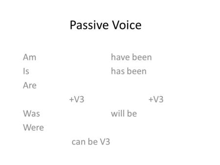 Passive Voice Amhave been Ishas been Are +V3 +V3 Was will be Were can be V3.