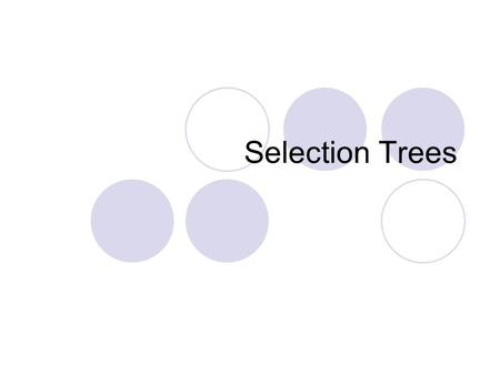 "Selection Trees. What are selection trees? Complete binary tree Each node represents a ""match"" Winner Trees Loser Trees."