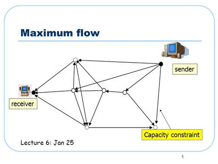 1 Maximum flow sender receiver Capacity constraint Lecture 6: Jan 25.
