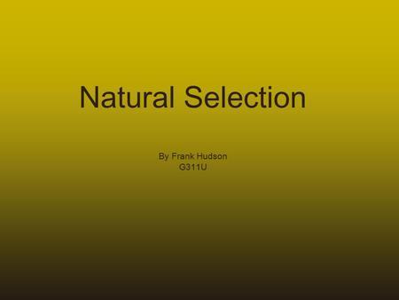Natural Selection By Frank Hudson G311U. Charles Darwin 1809-1882 HMS Beagle Brazilian rain forest Galapagos Islands (turtles, finches, etc.)