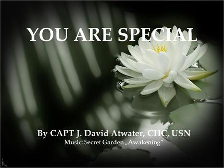 "By CAPT J. David Atwater, CHC, USN Music: Secret Garden ""Awakening"" YOU ARE SPECIAL."