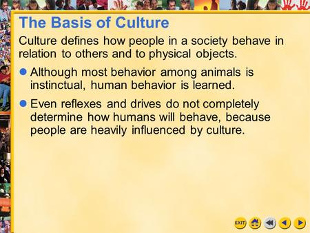 The Basis of Culture Culture defines how people in a society behave in relation to others and to physical objects. Although most behavior among animals.