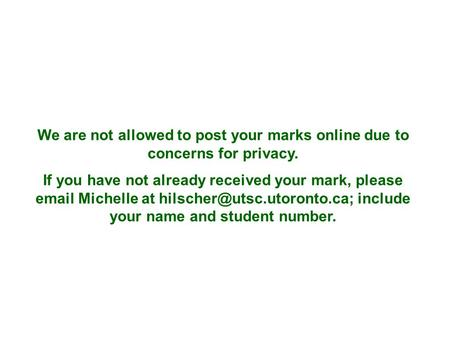 We are not allowed to post your marks online due to concerns for privacy. If you have not already received your mark, please  Michelle at