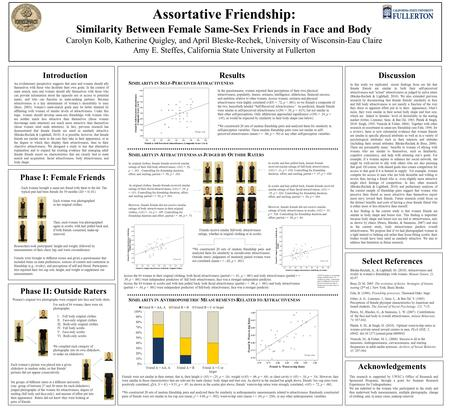 Assortative Friendship: Similarity Between Female Same-Sex Friends in Face and Body Carolyn Kolb, Katherine Quigley, and April Bleske-Rechek, University.
