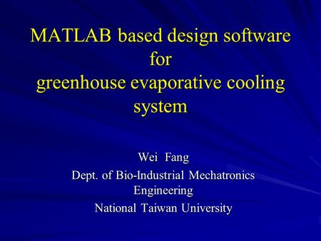MATLAB based design software for greenhouse evaporative cooling system