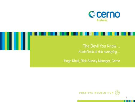 The Devil You Know… A brief look at risk surveying… Hugh Khull, Risk Survey Manager, Cerno 1.