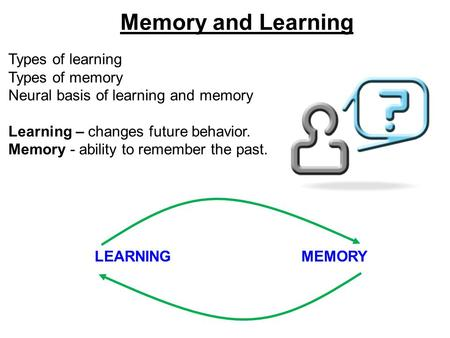 Memory and Learning Types of learning Types of memory Neural basis of learning and memory Learning – changes future behavior. Memory - ability to remember.