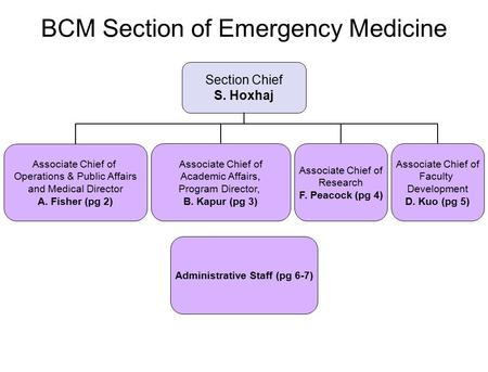 BCM Section of Emergency Medicine Section Chief S. Hoxhaj Associate Chief of Academic Affairs, Program Director, B. Kapur (pg 3) Associate Chief of Operations.