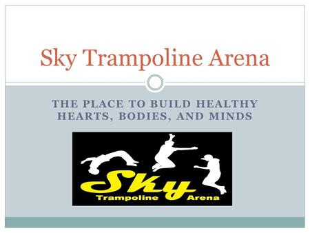 THE PLACE TO BUILD HEALTHY HEARTS, BODIES, AND MINDS Sky Trampoline Arena.