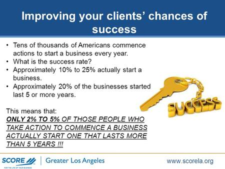 Www.scorela.org Tens of thousands of Americans commence actions to start a business every year. What is the success rate? Approximately 10% to 25% actually.