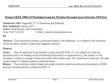 Doc.: IEEE 802.15-15-0274-00-007a Submission March 2015 Rick Roberts [Intel]Slide 1 Project: IEEE P802.15 Working Group for Wireless Personal Area Networks.
