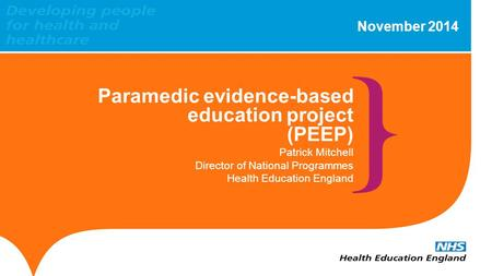 Paramedic evidence-based education project (PEEP)