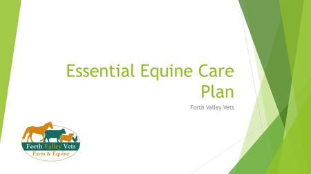 Essential Equine Care Plan Forth Valley Vets. Care Plan Background  Designed to help create a bond between horse owners and their vets  Allows more.