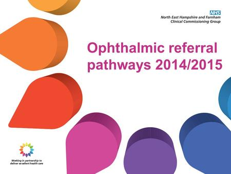 Ophthalmic referral pathways 2014/2015. Who are the CCG? Responsibility for buying local health services transferred as of 1st April 2013 from Primary.