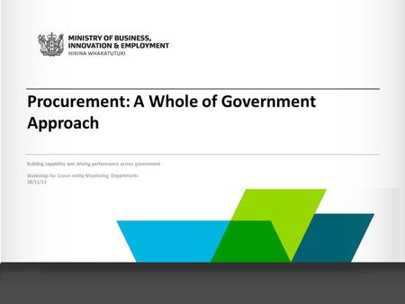 Procurement: A Whole of Government Approach Building capability and driving performance across government Workshop for Crown entity Monitoring Departments.