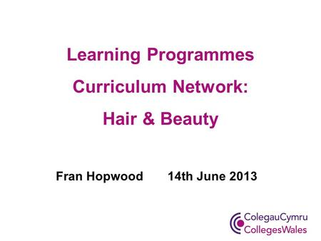 Learning Programmes Curriculum Network: Hair & Beauty Fran Hopwood 14th June 2013.