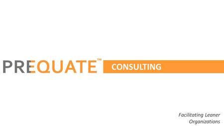 CONSULTING Facilitating Leaner Organizations ™. ™ Established in 2010, Prequate is a Performance Enablement company started by 3 Chartered accountants,
