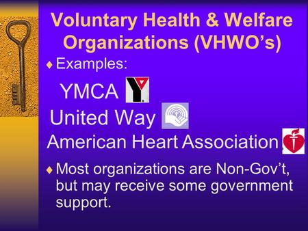 Voluntary Health & Welfare Organizations (VHWO's)