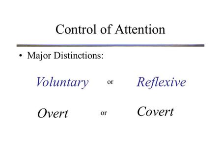 Control of Attention Major Distinctions: VoluntaryReflexive Overt Covert or.