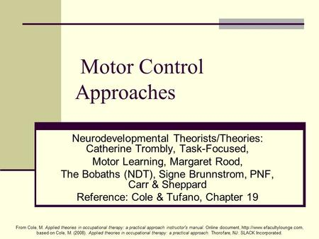 From Cole, M. Applied theories in occupational therapy: a practical approach instructor's manual. Online document,  based.