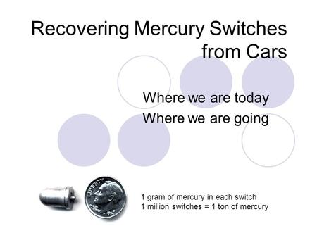 Recovering Mercury Switches from Cars Where we are today Where we are going 1 gram of mercury in each switch 1 million switches = 1 ton of mercury.