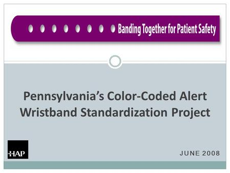 JUNE 2008 Pennsylvania's Color-Coded Alert Wristband Standardization Project.