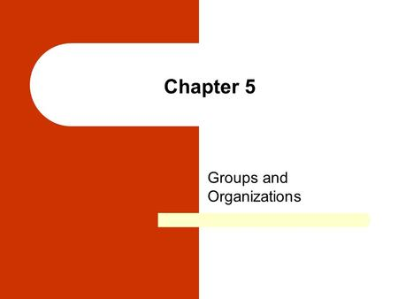 Chapter 5 Groups and Organizations. Chapter Outline Social Groups Group Characteristics and Dynamics Formal Organizations in Global Perspective Alternative.