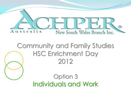 Community and Family Studies HSC Enrichment Day 2012 Option 3 Individuals and Work.