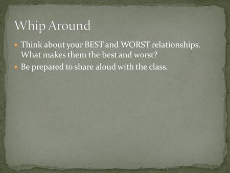 Think about your BEST and WORST relationships. What makes them the best and worst? Be prepared to share aloud with the class.